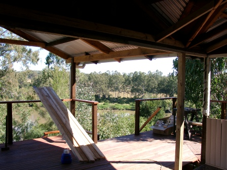view of river from new veranda of cottage