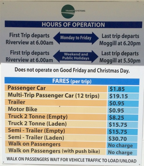 Moggill Ferry Hours of Operation
